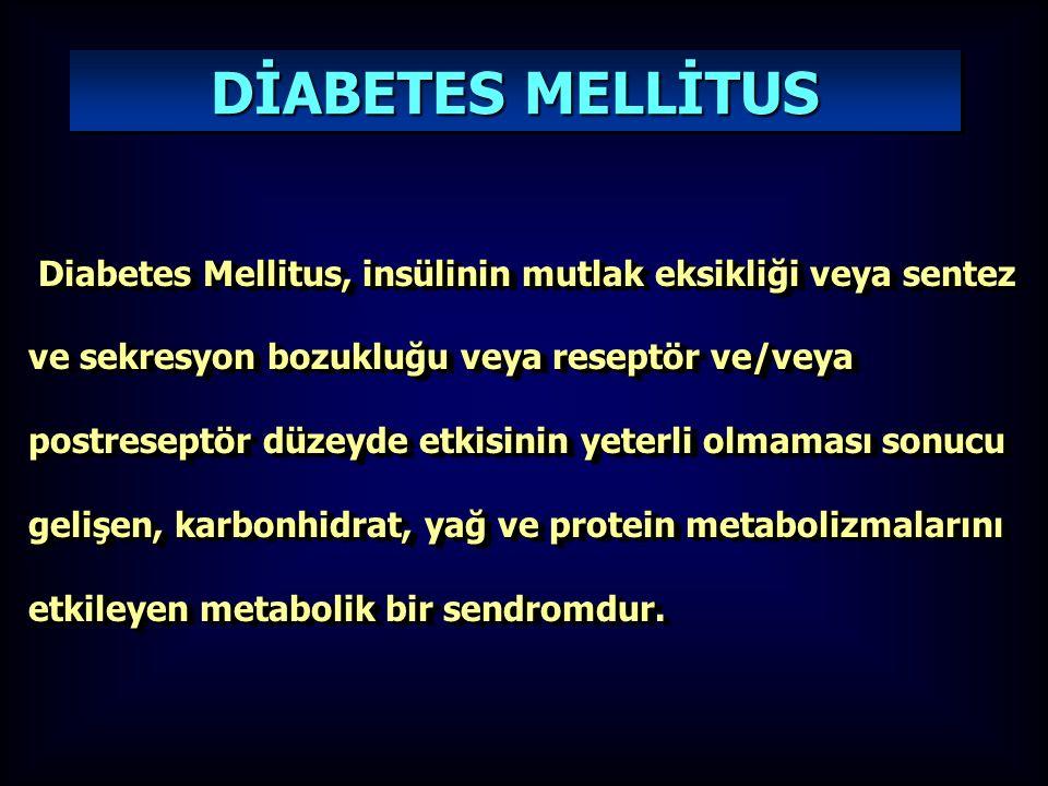 Diabetes Mellitus, insülinin mutlak eksikliği veya sentez ve sekresyon bozukluğu veya reseptör ve/veya postreseptör düzeyde etkisinin yeterli olmaması sonucu gelişen, karbonhidrat, yağ ve protein metabolizmalarını etkileyen metabolik bir sendromdur.