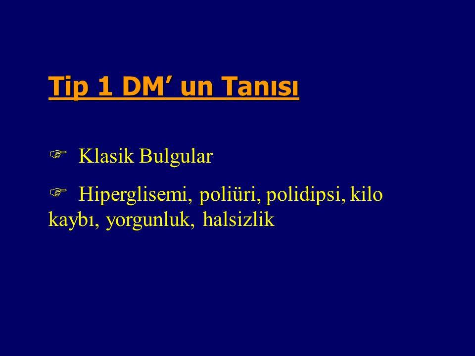 Diabetes MellitusDiabetes IDDM ( Tip 1 )NIDDM ( Tip 2 ) Polidipsi, Poliuri +++ Halsizlik Yorgunluk +++ Polifaji ve kilo kaybı ++ - Tekrarlayan Görme bozukluğu +++ Vulvovaginitis pruritus +++ Periferik Nöropati +++ Enuresis Nokturna ++- Asemptomatik -++