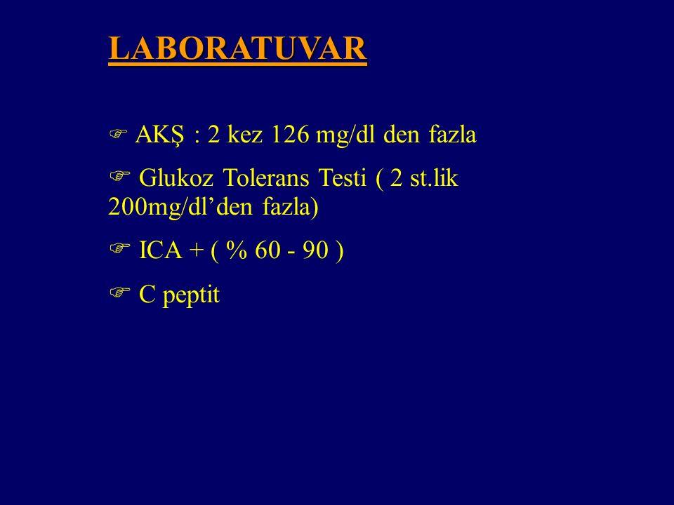Tip 2 DM' un KLİNİK ÖZELLİKLERİ Poliüri, polidipsi, polifaji, görme bozukluğu  Poliüri, polidipsi, polifaji, görme bozukluğu  Nörolojik veya vasküle