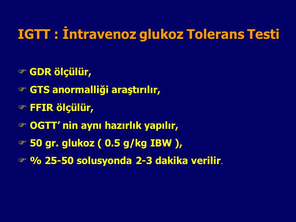 OGTT : Oral Glukoz Tolerans Testi  Teste Hazırlık  Düşük KH' lı Diet 3 gün  75 gram glukoz su ile verilir  Çocuklarda 1.75 gr glukoz/kg  Örneklem