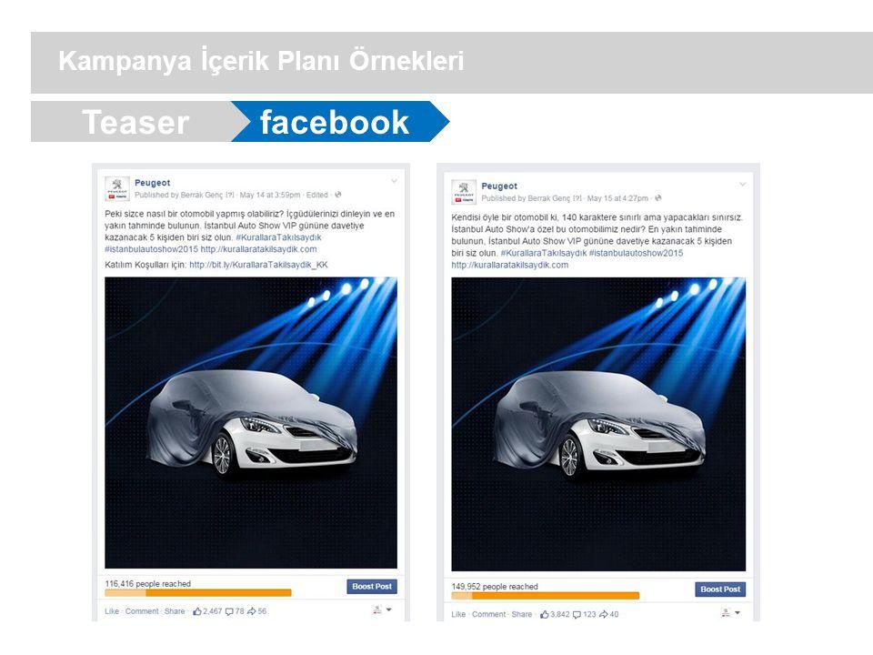 facebook Kampanya İçerik Planı Örnekleri Teaser
