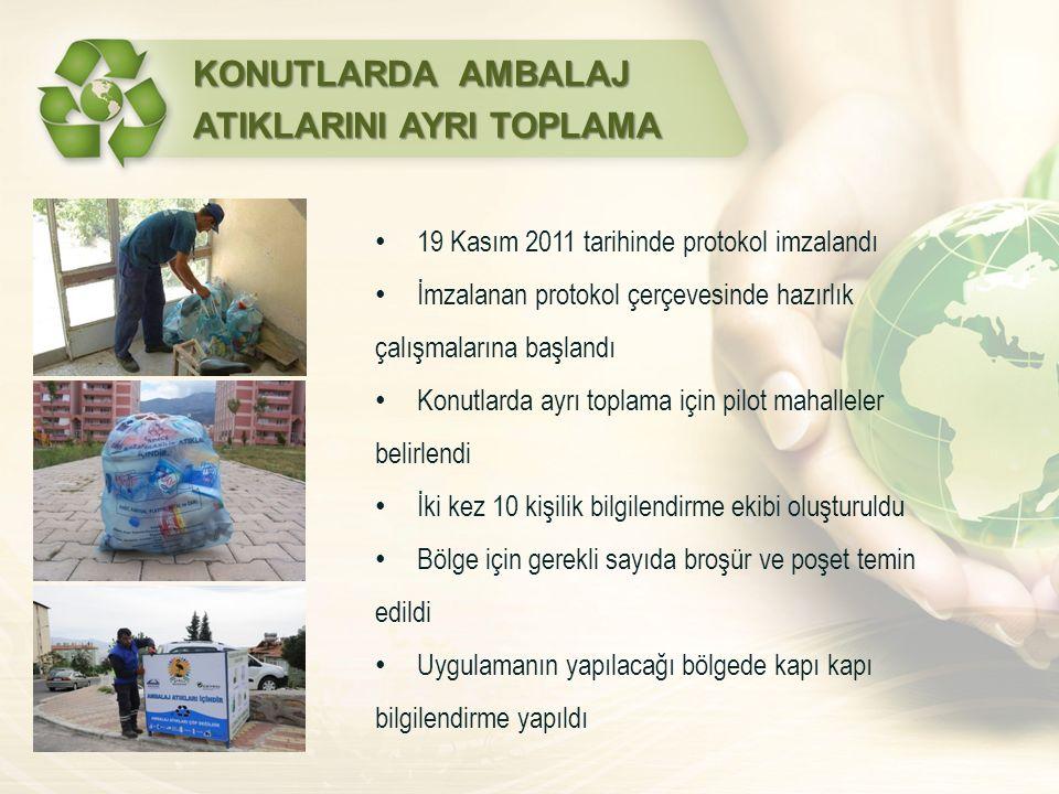 KONUTLARDA AMBALAJ ATIKLARINI AYRI TOPLAMA 19 Kasım 2011 tarihinde protokol imzalandı İmzalanan protokol çerçevesinde hazırlık çalışmalarına başlandı