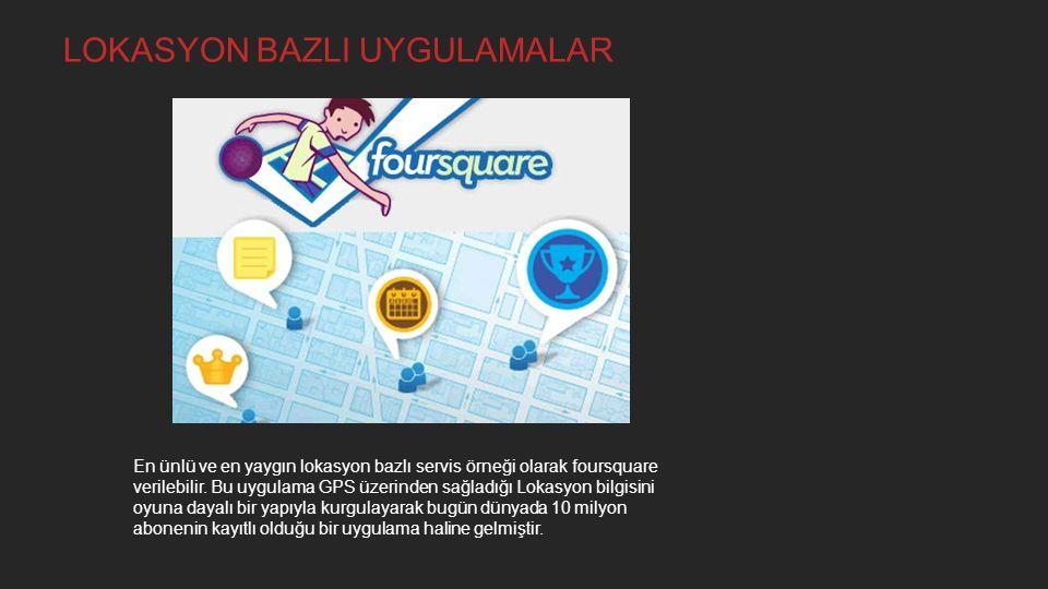 En ünlü ve en yaygın lokasyon bazlı servis örneği olarak foursquare verilebilir. Bu uygulama GPS üzerinden sağladığı Lokasyon bilgisini oyuna dayalı b