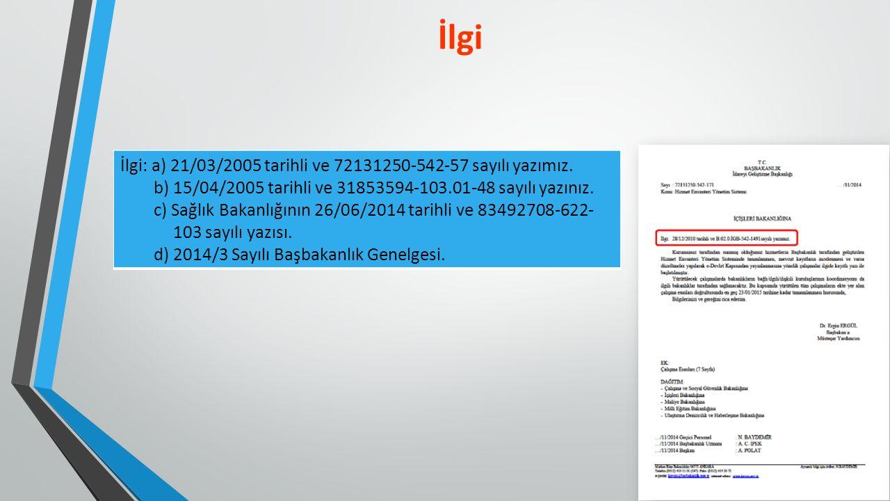 İlgi: a) 21/03/2005 tarihli ve 72131250-542-57 sayılı yazımız.