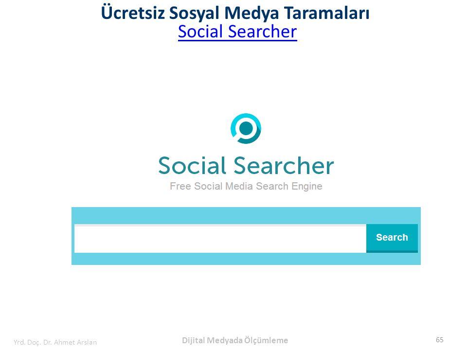 Ücretsiz Sosyal Medya Taramaları Social Searcher 65 Yrd. Doç. Dr. Ahmet Arslan Dijital Medyada Ölçümleme
