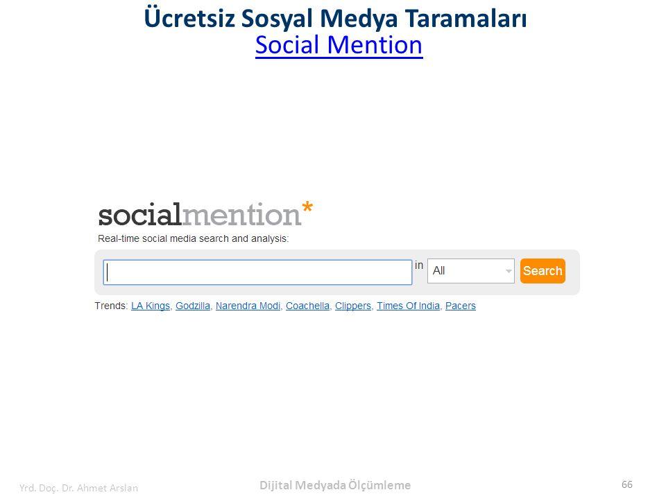 Ücretsiz Sosyal Medya Taramaları Social Mention 66 Yrd. Doç. Dr. Ahmet Arslan Dijital Medyada Ölçümleme