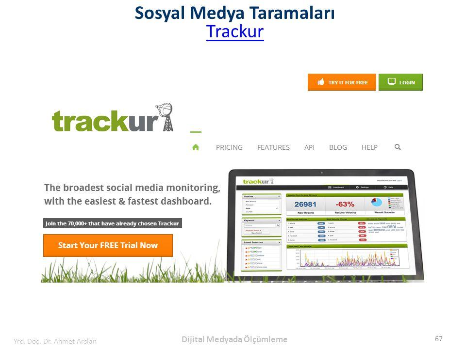 Sosyal Medya Taramaları Trackur 67 Yrd. Doç. Dr. Ahmet Arslan Dijital Medyada Ölçümleme