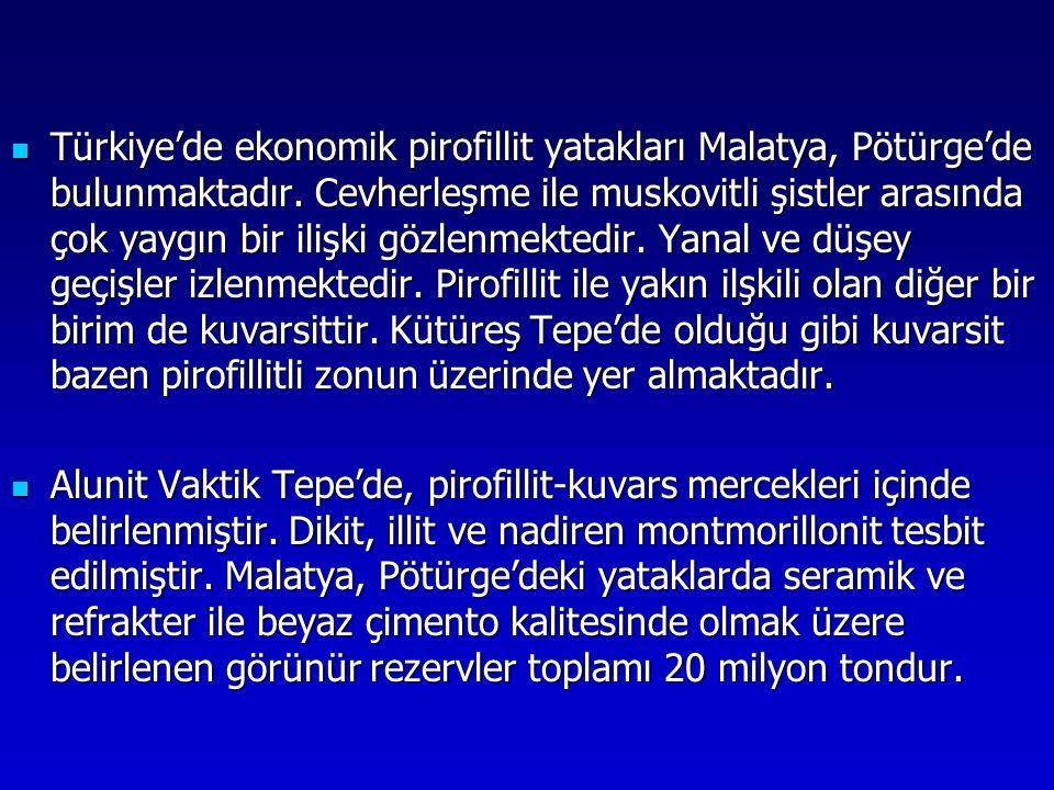 Türkiye'de ekonomik pirofillit yatakları Malatya, Pötürge'de bulunmaktadır. Cevherleşme ile muskovitli şistler arasında çok yaygın bir ilişki gözlenme