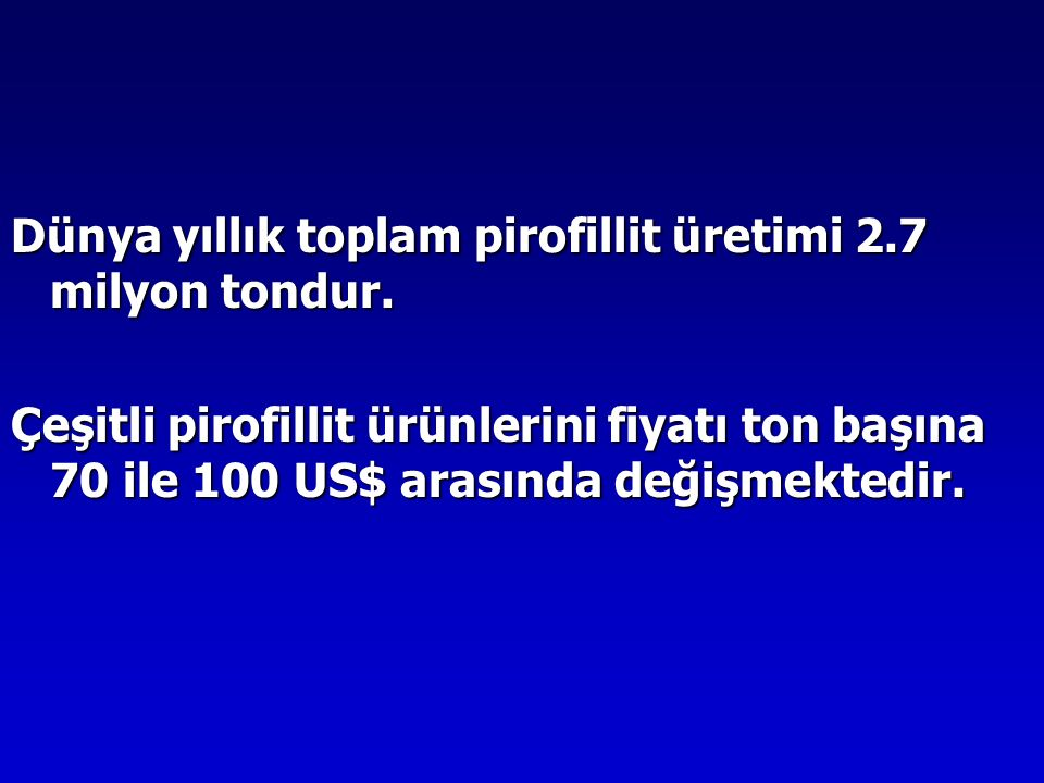 Dünya yıllık toplam pirofillit üretimi 2.7 milyon tondur. Çeşitli pirofillit ürünlerini fiyatı ton başına 70 ile 100 US$ arasında değişmektedir.