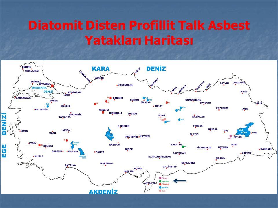 Diatomit Disten Profillit Talk Asbest Yatakları Haritası