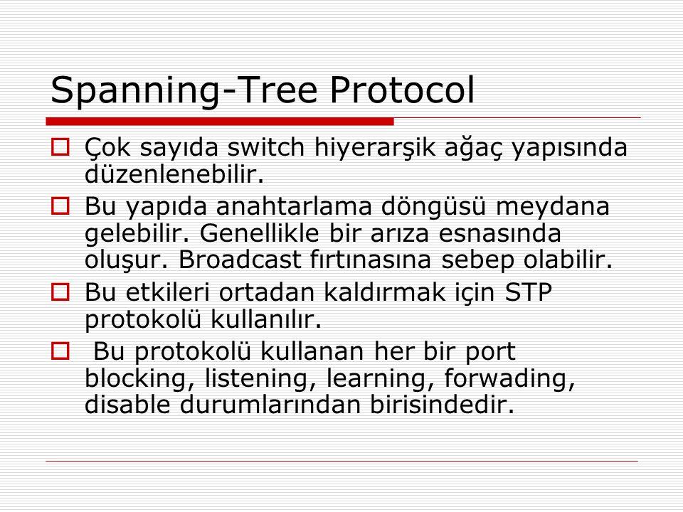 Spanning-Tree Protocol  Çok sayıda switch hiyerarşik ağaç yapısında düzenlenebilir.  Bu yapıda anahtarlama döngüsü meydana gelebilir. Genellikle bir