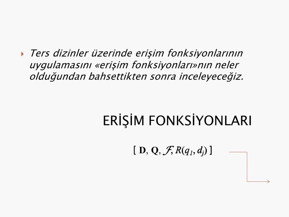  Ters dizinler üzerinde erişim fonksiyonlarının uygulamasını «erişim fonksiyonları»nın neler olduğundan bahsettikten sonra inceleyeceğiz.