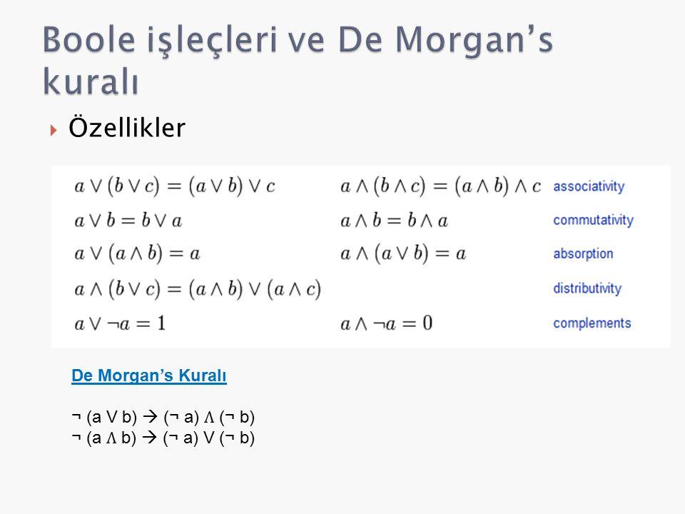  Özellikler De Morgan's Kuralı ¬ (a V b)  (¬ a) (¬ b) ¬ (a b)  (¬ a) V (¬ b)