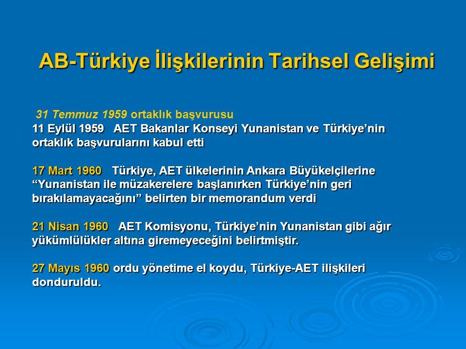 AB-Türkiye İlişkilerinin Tarihsel Gelişimi 31 Temmuz 1959 ortaklık başvurusu 11 Eylül 1959 AET Bakanlar Konseyi Yunanistan ve Türkiye'nin ortaklık başvurularını kabul etti 17 Mart 1960 Türkiye, AET ülkelerinin Ankara Büyükelçilerine Yunanistan ile müzakerelere başlanırken Türkiye'nin geri bırakılamayacağını belirten bir memorandum verdi 21 Nisan 1960 AET Komisyonu, Türkiye'nin Yunanistan gibi ağır yükümlülükler altına giremeyeceğini belirtmiştir.