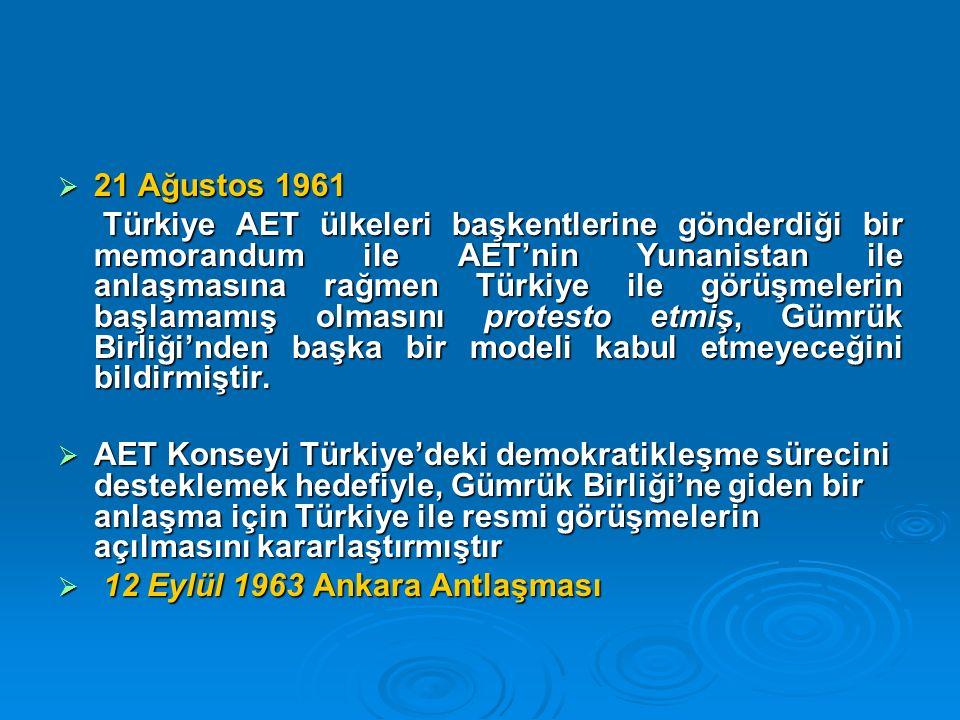 21 Ağustos 1961 Türkiye AET ülkeleri başkentlerine gönderdiği bir memorandum ile AET'nin Yunanistan ile anlaşmasına rağmen Türkiye ile görüşmelerin başlamamış olmasını protesto etmiş, Gümrük Birliği'nden başka bir modeli kabul etmeyeceğini bildirmiştir.