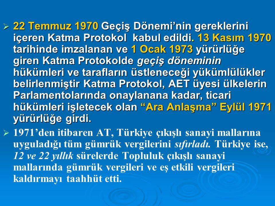  22 Temmuz 1970 Geçiş Dönemi'nin gereklerini içeren Katma Protokol kabul edildi.