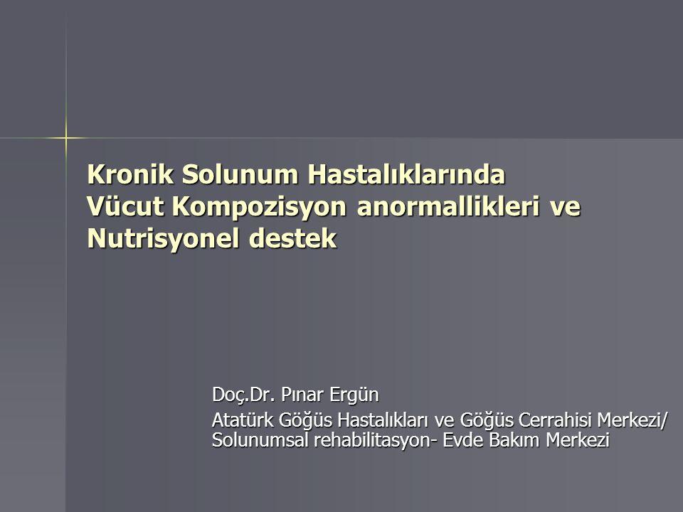 KOAH'lı hastalarda kilo kaybı ve kas zayıflığı Solunum ve periferik kas fonksiyonlarını Solunum ve periferik kas fonksiyonlarını Egzersiz kapasitesini Egzersiz kapasitesini Yaşam kalitesini Yaşam kalitesini Mortaliteyi Mortaliteyi olumsuz yönde etkilemektedir olumsuz yönde etkilemektedir 1-Eur Respir J 1994;7:1793-97 2-Eur Respir J 1997;10:2807-13 3-Eur Respir J 1997;10:1575-80 4-Am J Clin Nutr 2005;82:53-9