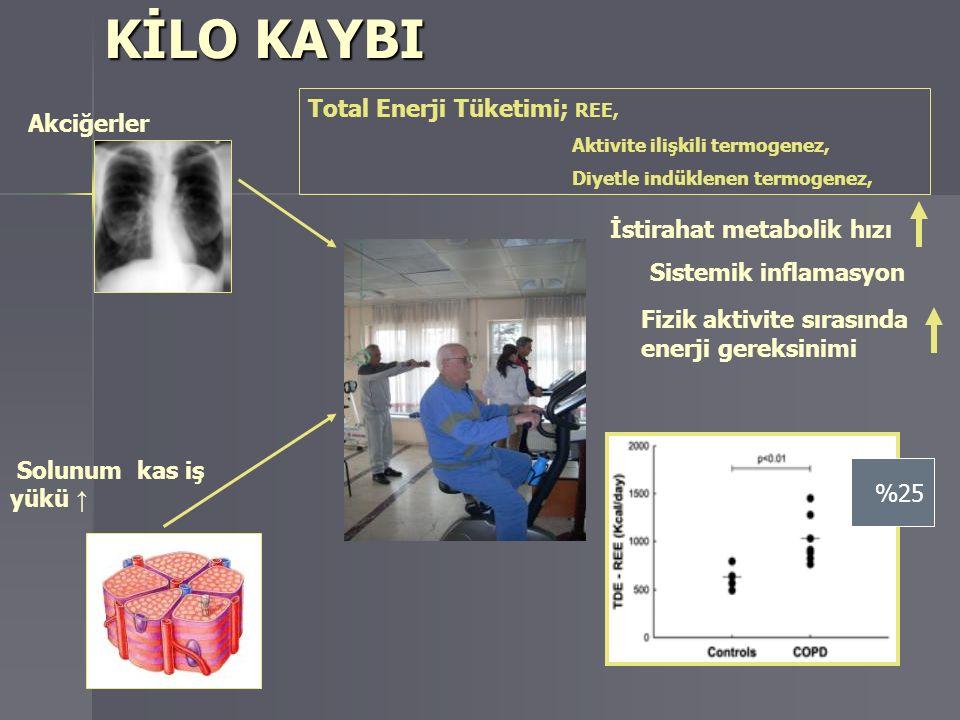 KİLO KAYBI Solunum kas iş yükü ↑ Total Enerji Tüketimi; REE, Aktivite ilişkili termogenez, Diyetle indüklenen termogenez, İstirahat metabolik hızı Sis