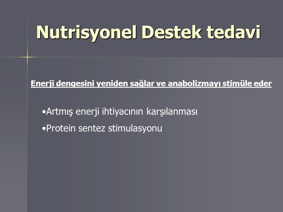 Nutrisyonel Destek tedavi Enerji dengesini yeniden sağlar ve anabolizmayı stimüle eder Artmış enerji ihtiyacının karşılanması Protein sentez stimulasy