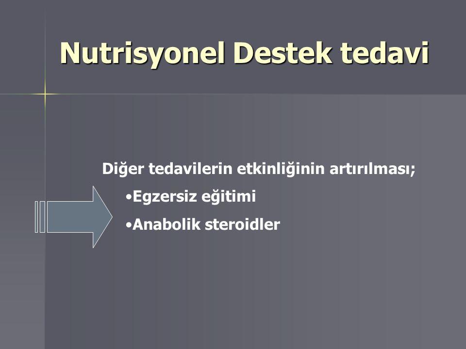 Diğer tedavilerin etkinliğinin artırılması; Egzersiz eğitimi Anabolik steroidler Nutrisyonel Destek tedavi