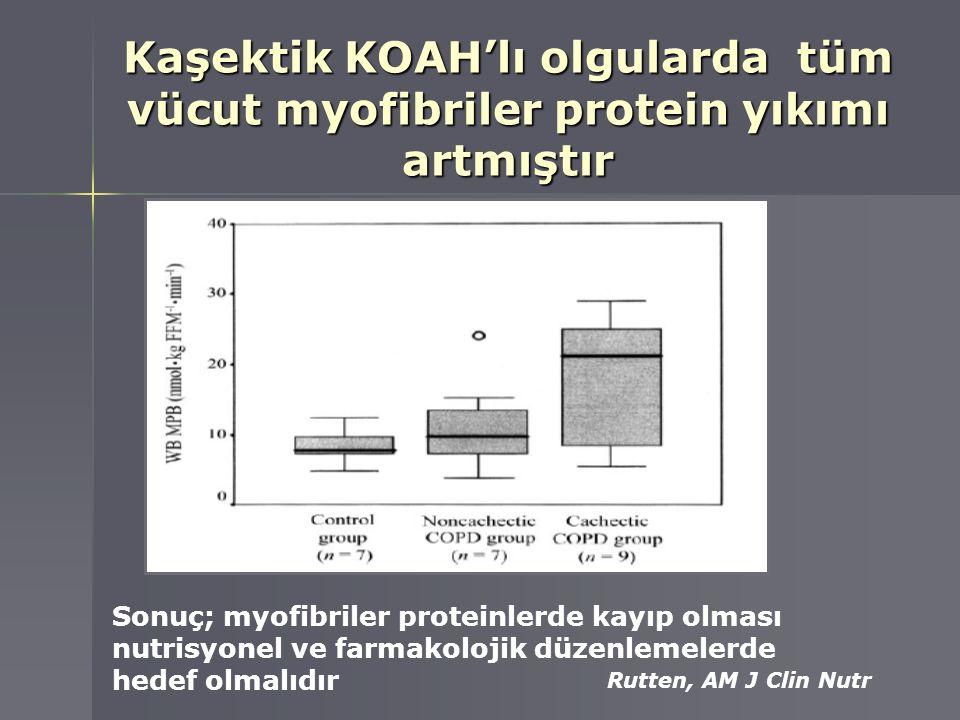 Kaşektik KOAH'lı olgularda tüm vücut myofibriler protein yıkımı artmıştır Rutten, AM J Clin Nutr Sonuç; myofibriler proteinlerde kayıp olması nutrisyo