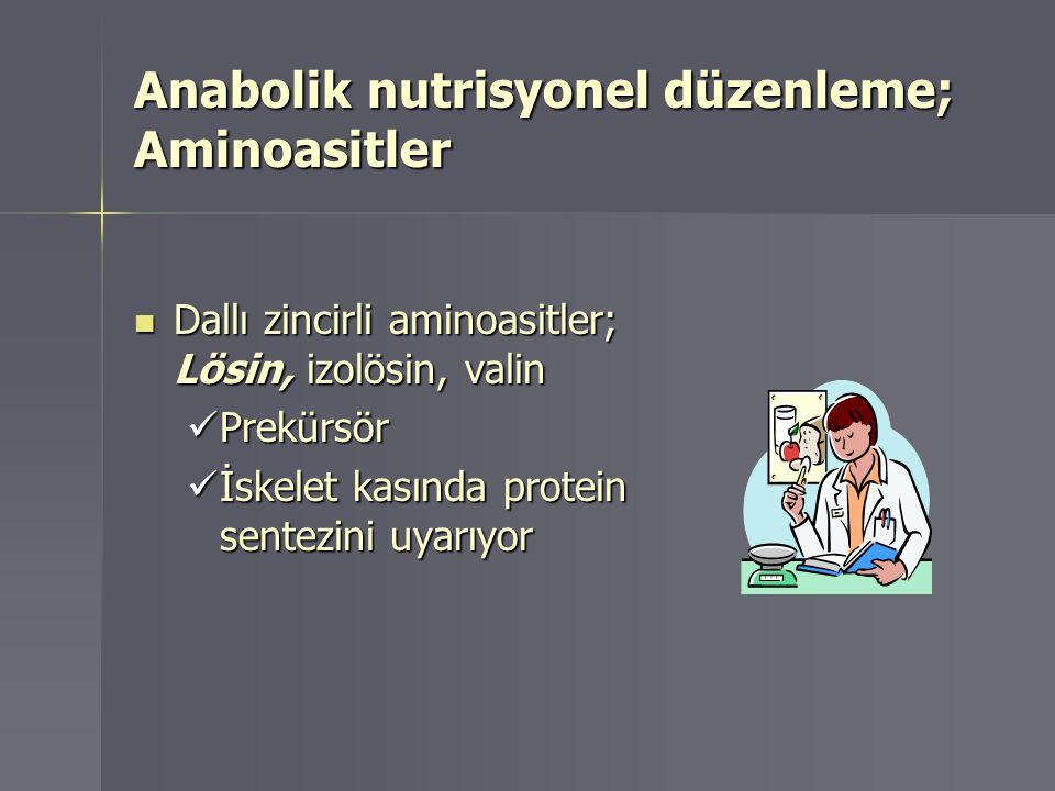 Anabolik nutrisyonel düzenleme; Aminoasitler Dallı zincirli aminoasitler; Lösin, izolösin, valin Dallı zincirli aminoasitler; Lösin, izolösin, valin P
