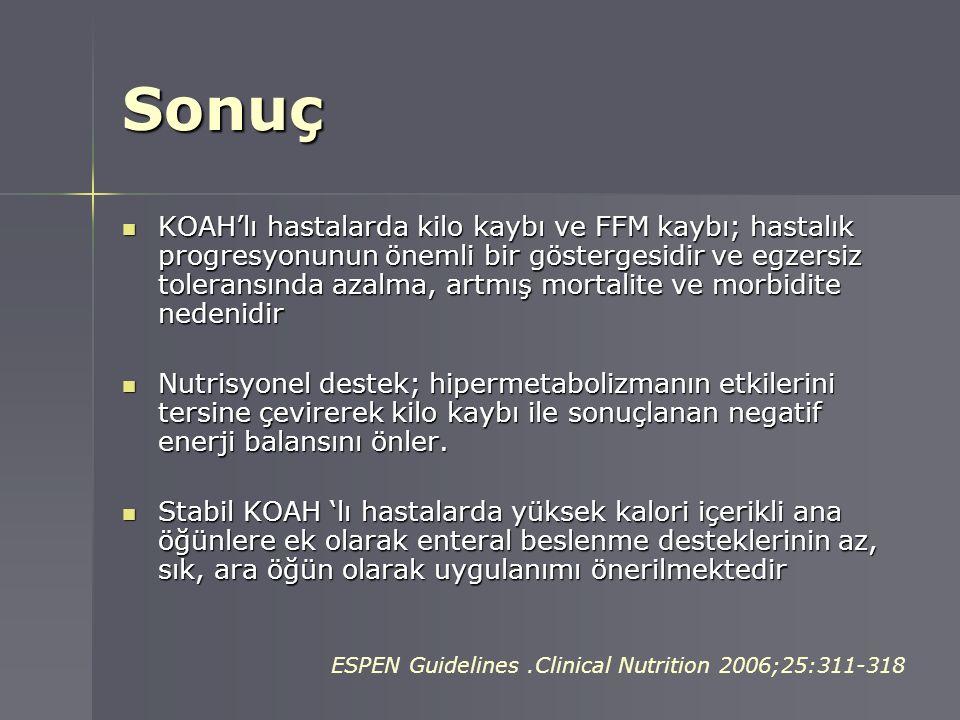 Sonuç KOAH'lı hastalarda kilo kaybı ve FFM kaybı; hastalık progresyonunun önemli bir göstergesidir ve egzersiz toleransında azalma, artmış mortalite v