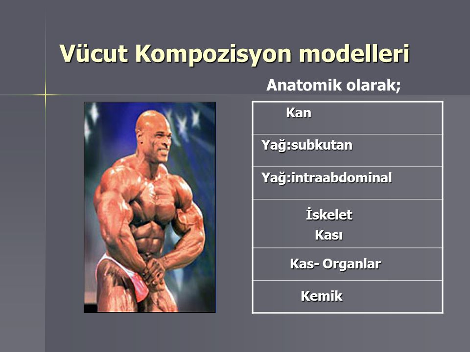 Vücut Kompozisyon modelleri Kan Kan Yağ:subkutan Yağ:subkutan Yağ:intraabdominal Yağ:intraabdominal İskelet İskelet Kası Kası Kas- Organlar Kas- Organ