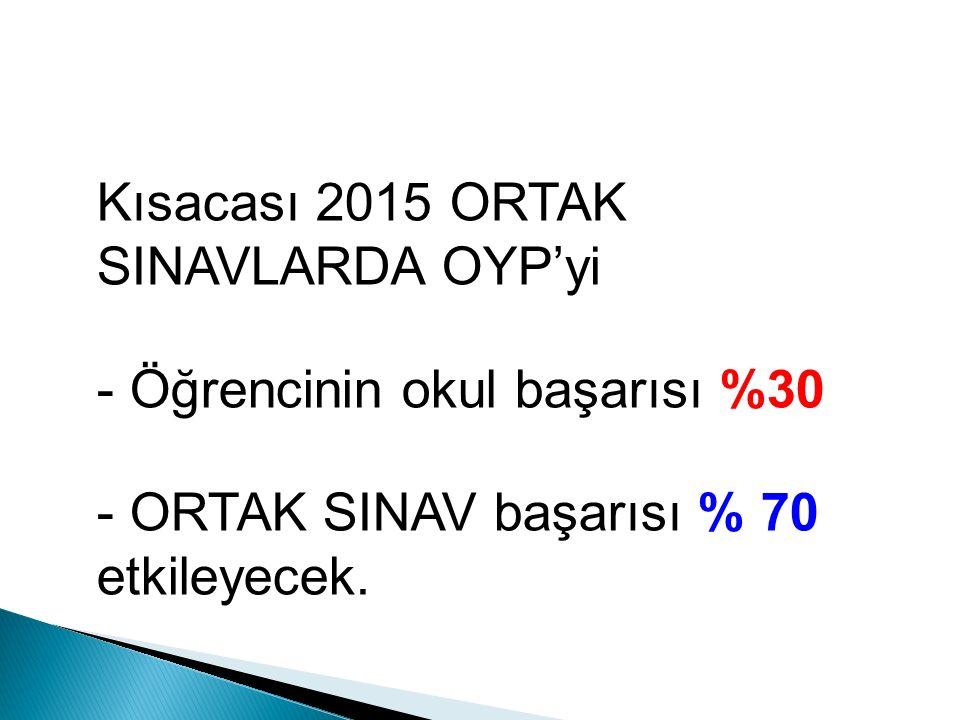 Kısacası 2015 ORTAK SINAVLARDA OYP'yi - Öğrencinin okul başarısı %30 - ORTAK SINAV başarısı % 70 etkileyecek.