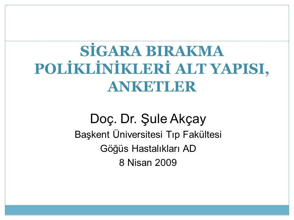SİGARA BIRAKMA POLİKLİNİKLERİ ALT YAPISI, ANKETLER Doç. Dr. Şule Akçay Başkent Üniversitesi Tıp Fakültesi Göğüs Hastalıkları AD 8 Nisan 2009