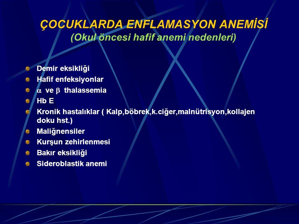 ÇOCUKLARDA ENFLAMASYON ANEMİSİ (Okul öncesi hafif anemi nedenleri) Demir eksikliği Hafif enfeksiyonlar  ve  thalassemia Hb E Kronik hastalıklar ( K