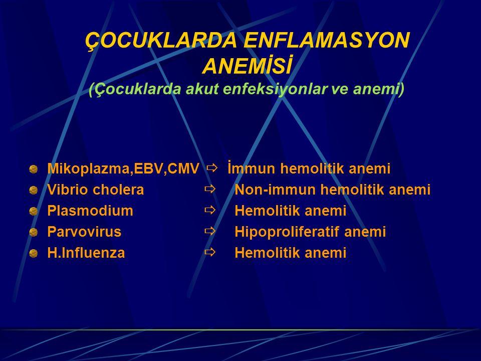 ÇOCUKLARDA ENFLAMASYON ANEMİSİ (Çocuklarda akut enfeksiyonlar ve anemi) Mikoplazma,EBV,CMV  İmmun hemolitik anemi Vibrio cholera  Non-immun hemolit