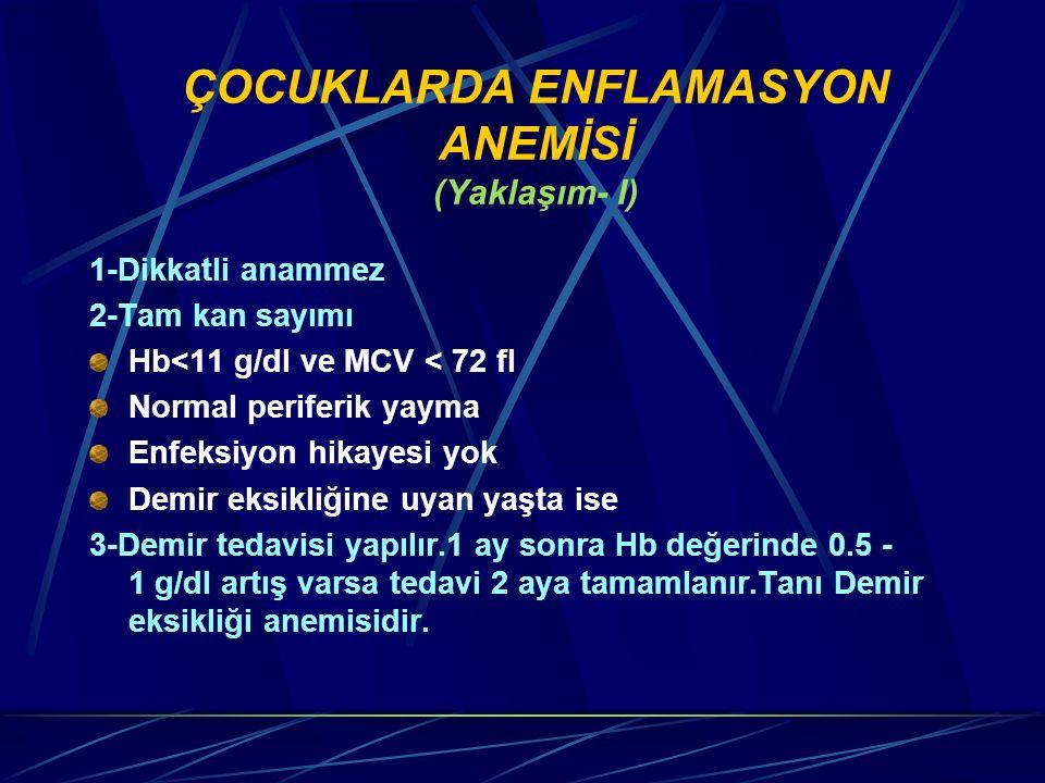 ÇOCUKLARDA ENFLAMASYON ANEMİSİ (Yaklaşım- I) 1-Dikkatli anammez 2-Tam kan sayımı Hb<11 g/dl ve MCV < 72 fl Normal periferik yayma Enfeksiyon hikayesi