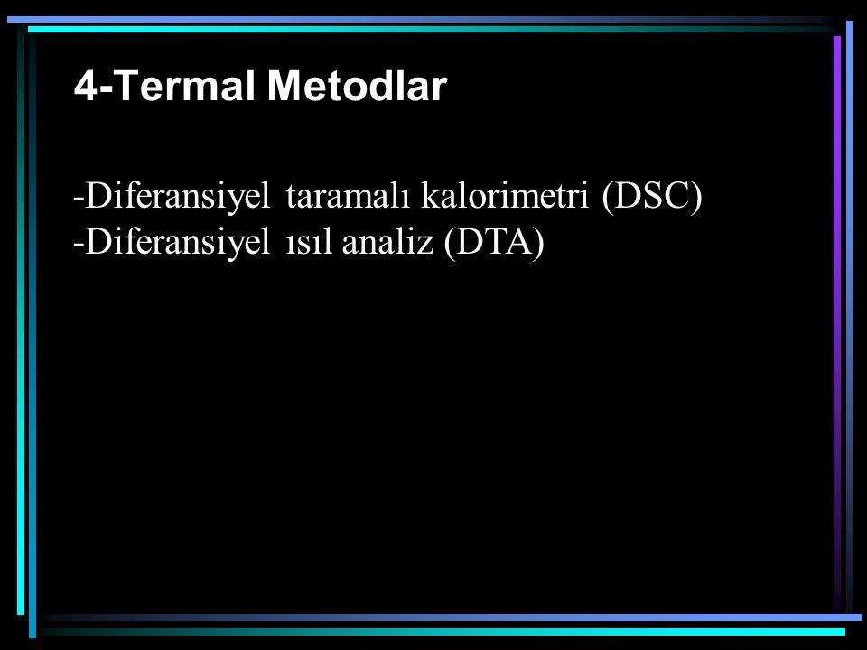 4-Termal Metodlar -Diferansiyel taramalı kalorimetri (DSC) -Diferansiyel ısıl analiz (DTA)