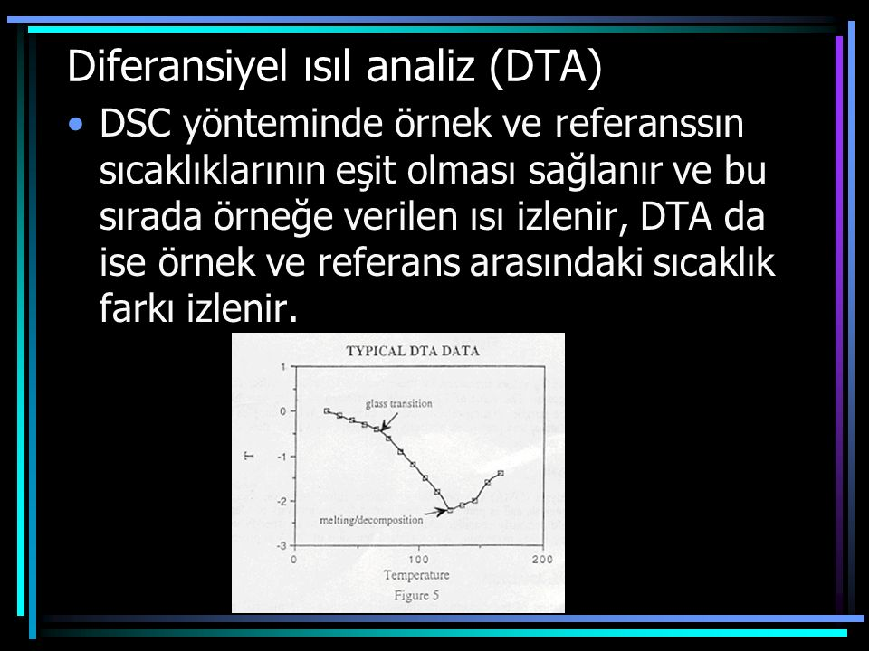 Diferansiyel ısıl analiz (DTA) DSC yönteminde örnek ve referanssın sıcaklıklarının eşit olması sağlanır ve bu sırada örneğe verilen ısı izlenir, DTA d