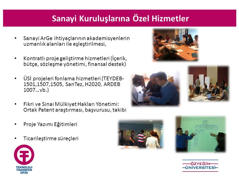 Sanayi Kuruluşlarına Özel Hizmetler Sanayi ArGe ihtiyaçlarının akademisyenlerin uzmanlık alanları ile eşleştirilmesi, Kontratlı proje geliştirme hizmetleri (İçerik, bütçe, sözleşme yönetimi, finansal destek) ÜSİ projeleri fonlama hizmetleri (TEYDEB- 1501,1507,1505, SanTez, H2020, ARDEB 1007…vb.) Fikri ve Sinai Mülkiyet Hakları Yönetimi: Ortak Patent araştırması, başvurusu, takibi Proje Yazımı Eğitimleri Ticarileştirme süreçleri