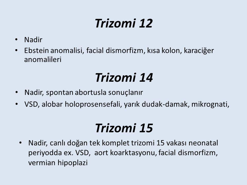 Trizomi 12 Nadir Ebstein anomalisi, facial dismorfizm, kısa kolon, karaciğer anomalileri Trizomi 14 Nadir, spontan abortusla sonuçlanır VSD, alobar holoprosensefali, yarık dudak-damak, mikrognati, Trizomi 15 Nadir, canlı doğan tek komplet trizomi 15 vakası neonatal periyodda ex.