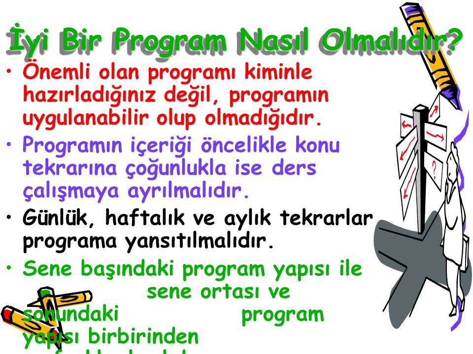 İyi Bir Program Nasıl Olmalıdır? Önemli olan programı kiminle hazırladığınız değil, programın uygulanabilir olup olmadığıdır. Programın içeriği önceli