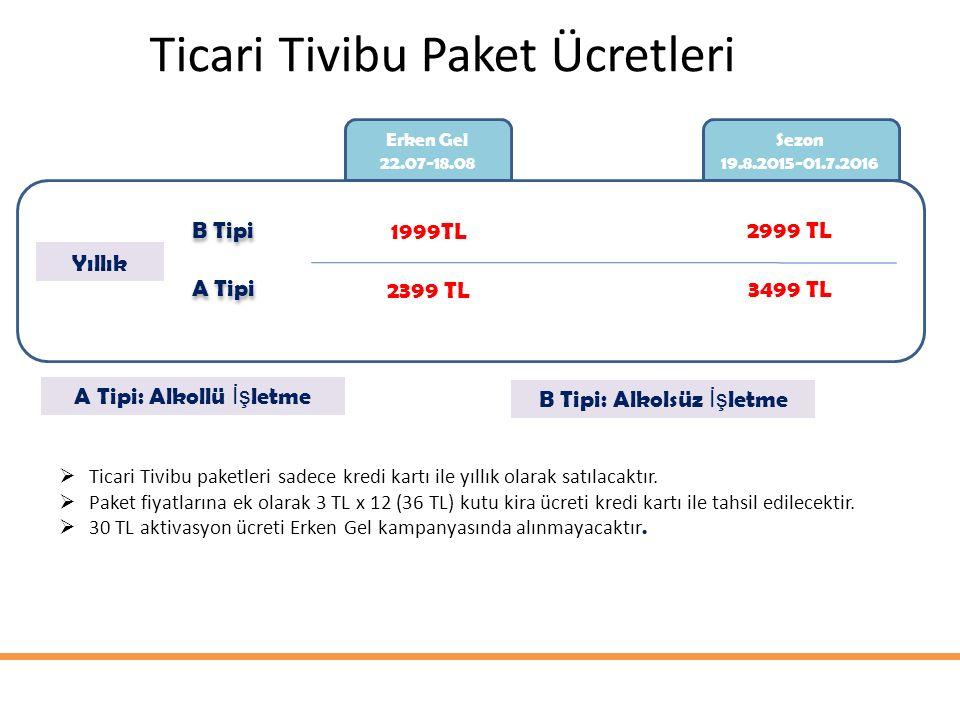 Ticari Tivibu Paket Ücretleri Erken Gel 22.07-18.08 Sezon 19.8.2015-01.7.2016 Yıllık B Tipi A Tipi 1999TL 2399 TL 2999 TL 3499 TL  Ticari Tivibu paketleri sadece kredi kartı ile yıllık olarak satılacaktır.