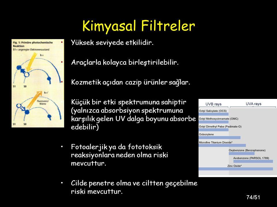 74/51 Kimyasal Filtreler Yüksek seviyede etkilidir.