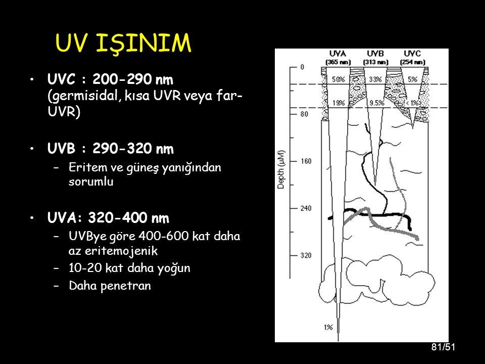 81/51 UVC : 200-290 nm (germisidal, kısa UVR veya far- UVR) UVB : 290-320 nm –Eritem ve güneş yanığından sorumlu UVA: 320-400 nm –UVBye göre 400-600 kat daha az eritemojenik –10-20 kat daha yoğun –Daha penetran UV IŞINIM