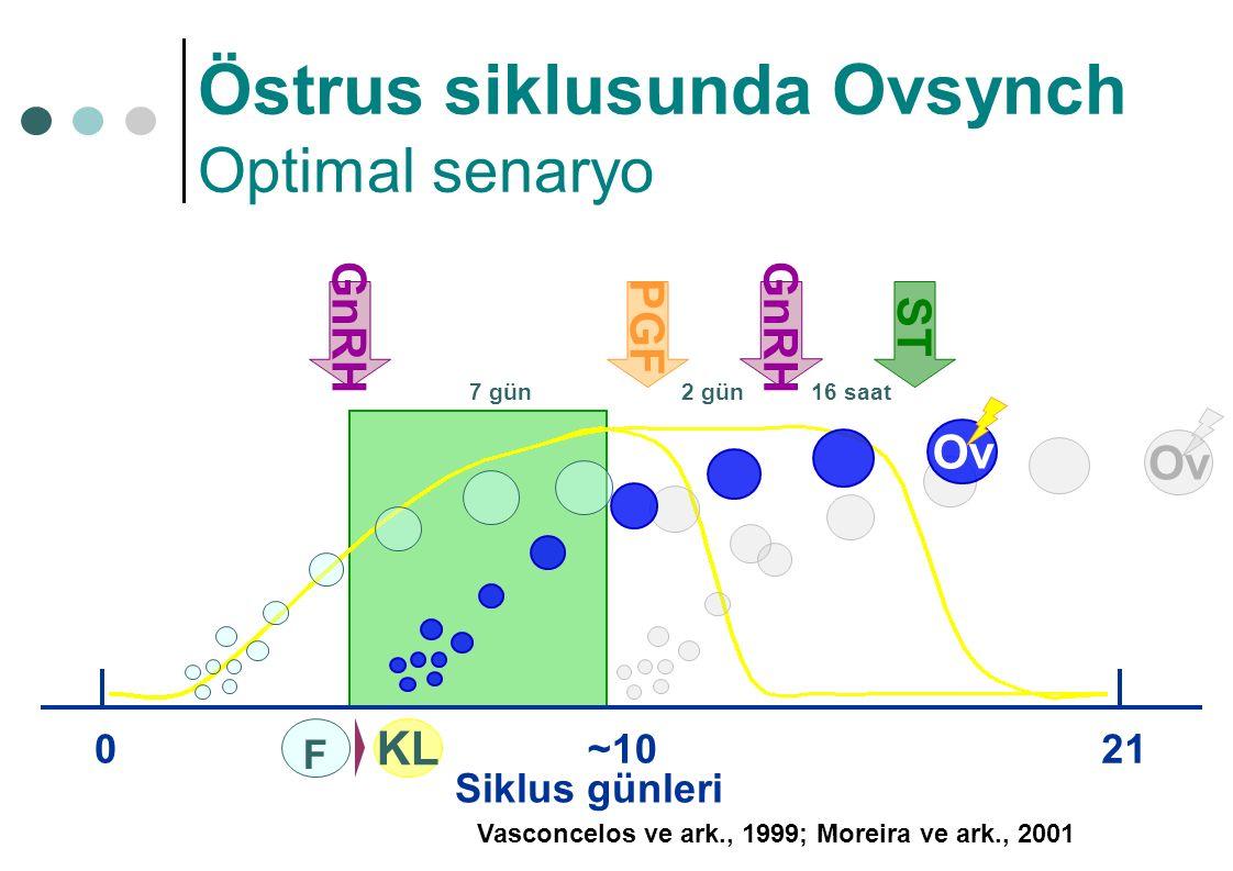 Siklus günleri 021 Ov ~10 GnRH PGF 7 gün2 gün GnRH ST 16 saat Ov Vasconcelos ve ark., 1999; Moreira ve ark., 2001 KLKL F Östrus siklusunda Ovsynch Opt