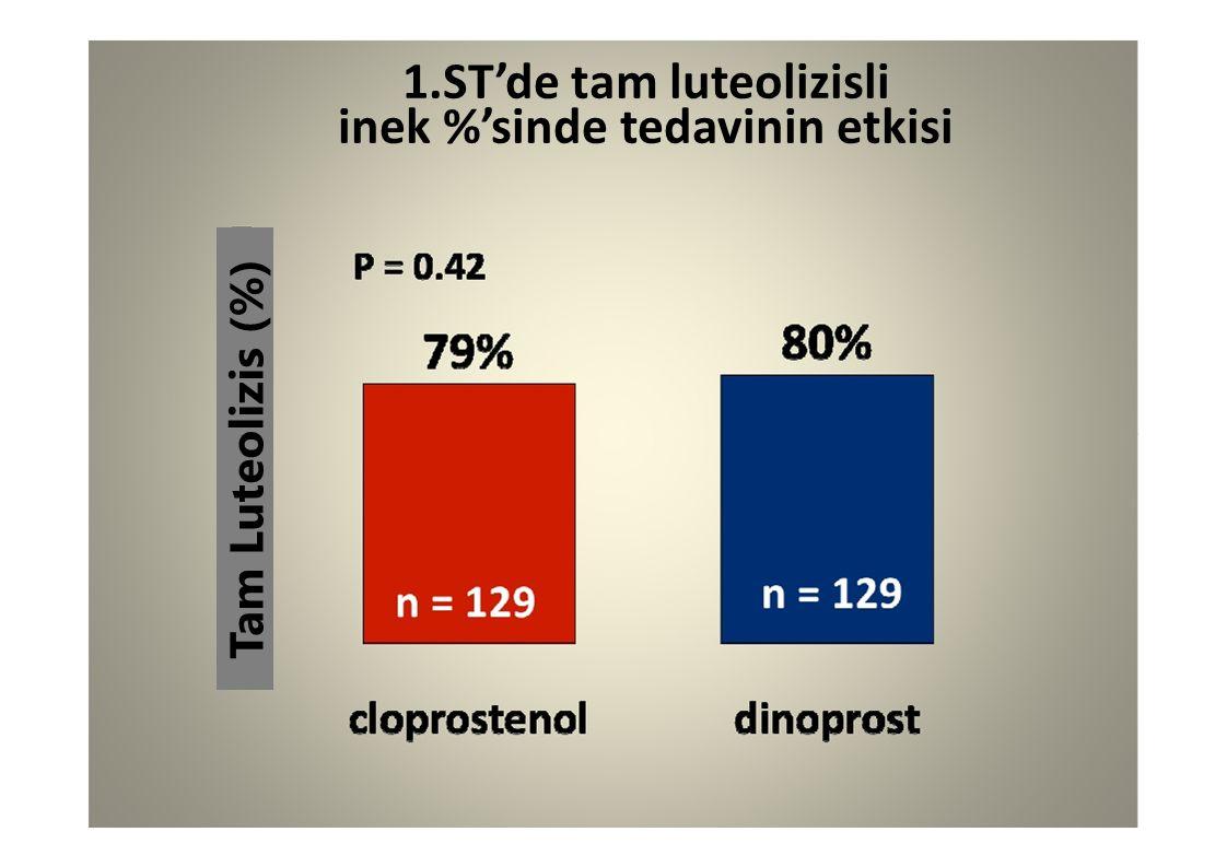 1.ST'de tam luteolizisli inek %'sinde tedavinin etkisi Tam Luteolizis (%)