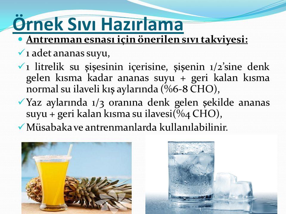 Örnek Sıvı Hazırlama Antrenman esnası için önerilen sıvı takviyesi: 1 adet ananas suyu, 1 litrelik su şişesinin içerisine, şişenin 1/2'sine denk gelen
