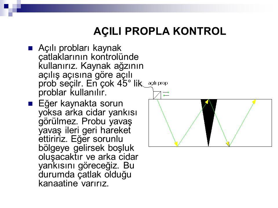 AÇILI PROPLA KONTROL Açılı probları kaynak çatlaklarının kontrolünde kullanırız. Kaynak ağzının açılış açısına göre açılı prob seçilr. En çok 45° lik