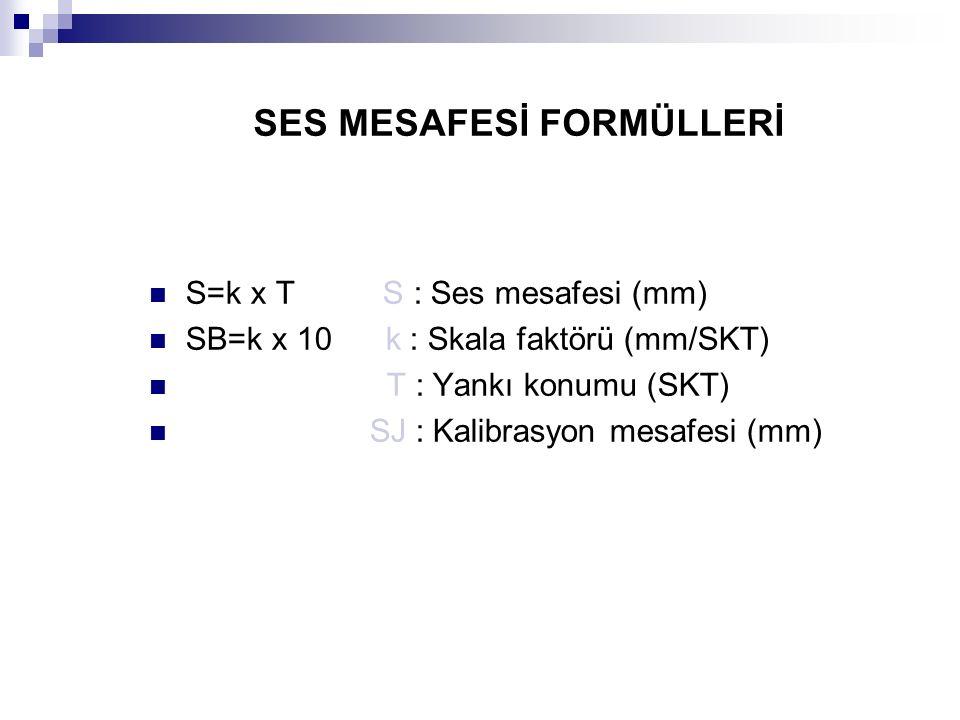 SES MESAFESİ FORMÜLLERİ S=k x T S : Ses mesafesi (mm) SB=k x 10 k : Skala faktörü (mm/SKT) T : Yankı konumu (SKT) SJ : Kalibrasyon mesafesi (mm)