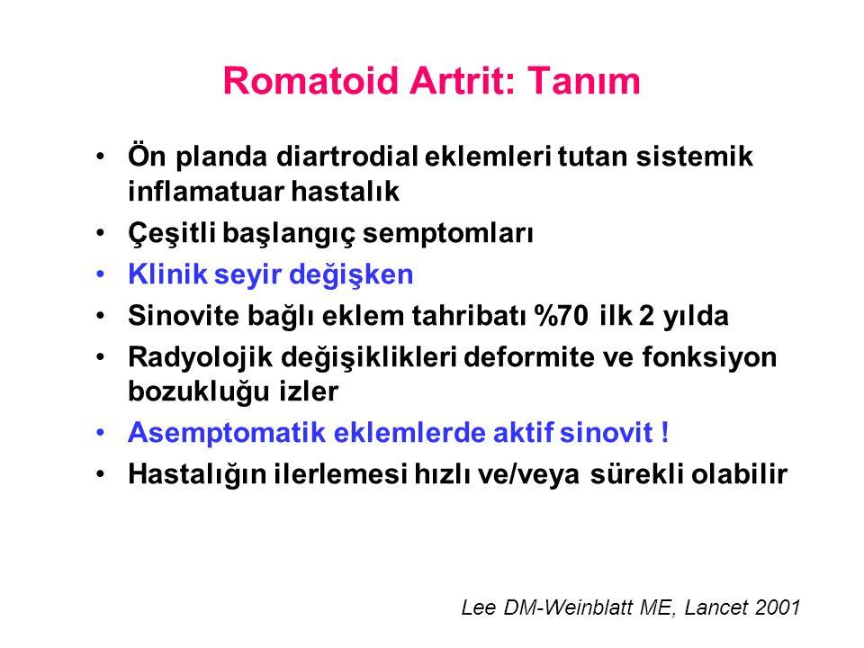 Romatoid Artrit: Tanım Ön planda diartrodial eklemleri tutan sistemik inflamatuar hastalık Çeşitli başlangıç semptomları Klinik seyir değişken Sinovite bağlı eklem tahribatı %70 ilk 2 yılda Radyolojik değişiklikleri deformite ve fonksiyon bozukluğu izler Asemptomatik eklemlerde aktif sinovit .