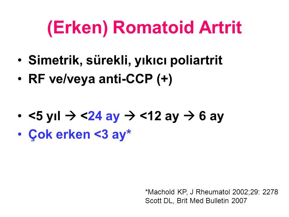 (Erken) Romatoid Artrit Simetrik, sürekli, yıkıcı poliartrit RF ve/veya anti-CCP (+) <5 yıl  <24 ay  <12 ay  6 ay Çok erken <3 ay* *Machold KP, J Rheumatol 2002;29: 2278 Scott DL, Brit Med Bulletin 2007