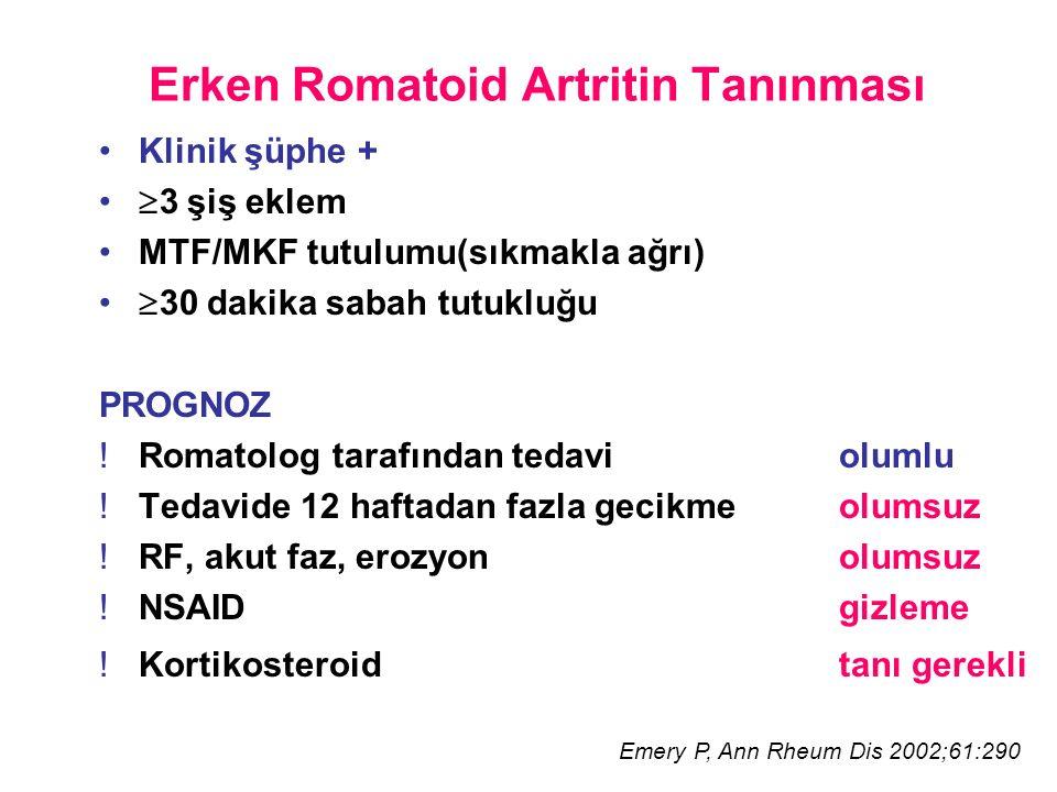 Erken Romatoid Artritin Tanınması Klinik şüphe +  3 şiş eklem MTF/MKF tutulumu(sıkmakla ağrı)  30 dakika sabah tutukluğu PROGNOZ !Romatolog tarafından tedaviolumlu !Tedavide 12 haftadan fazla gecikme olumsuz !RF, akut faz, erozyon olumsuz !NSAID gizleme !Kortikosteroid tanı gerekli Emery P, Ann Rheum Dis 2002;61:290