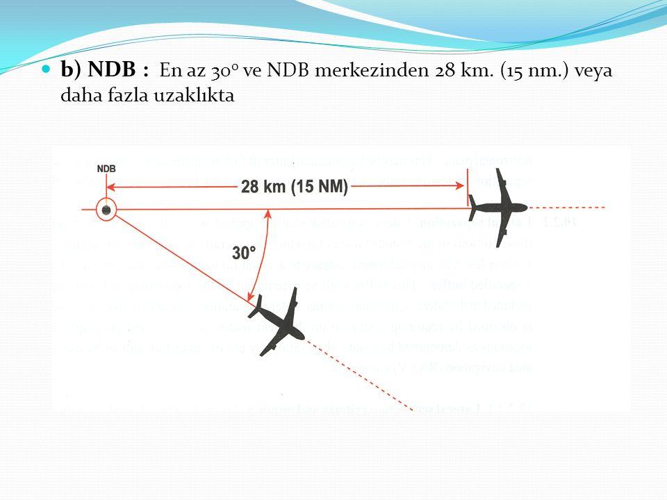 b) NDB : En az 30 0 ve NDB merkezinden 28 km. (15 nm.) veya daha fazla uzaklıkta